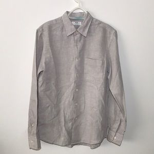 100% Linen Button Shirt Uniqlo Casual Breathable Lightweight